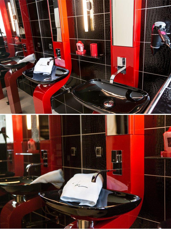 Décoration rouge et noir salle de bain