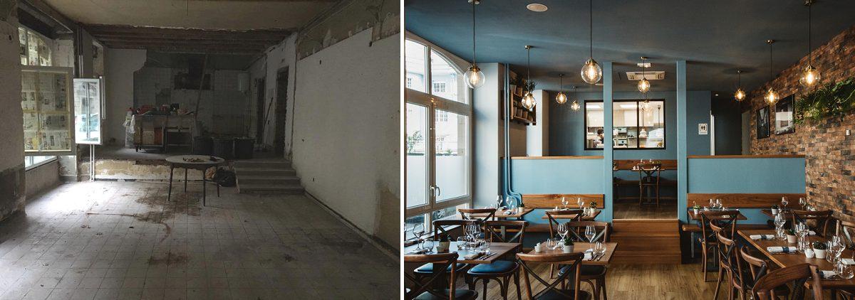 Agencement restaurant avant/après