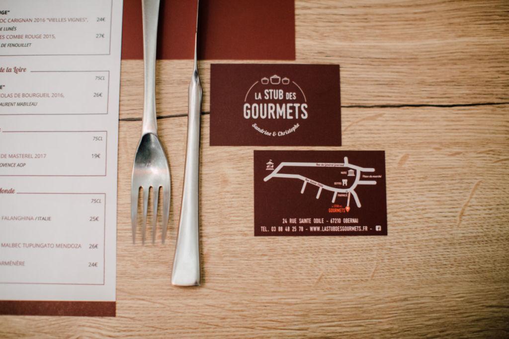 Création graphique cartes de visite restaurant Alsace