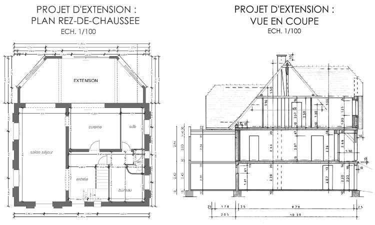 Architecture d 39 int rieur dans une maison pr s d 39 haguenau for Extension maison plan