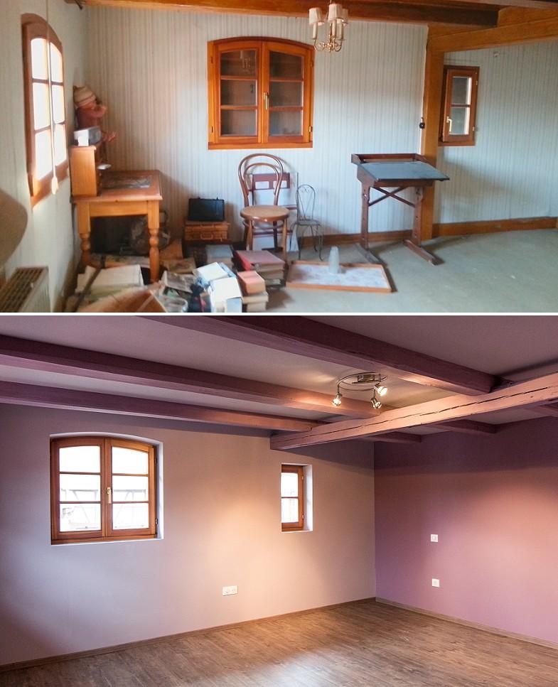 Rénovation maison colombages avant après
